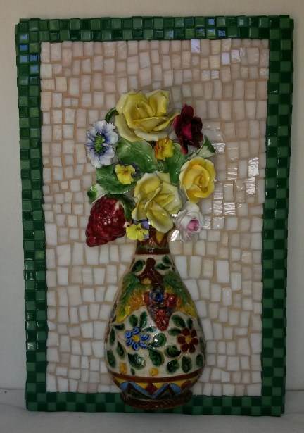 Mosaic vase with flowers